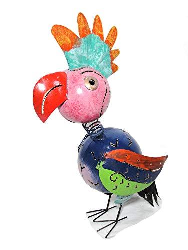 Papagei Metallfigur Gartenfigur Gartenskulptur Teelichthalter Windlicht Papageifigur Papagei-Skulptur Gartendeko