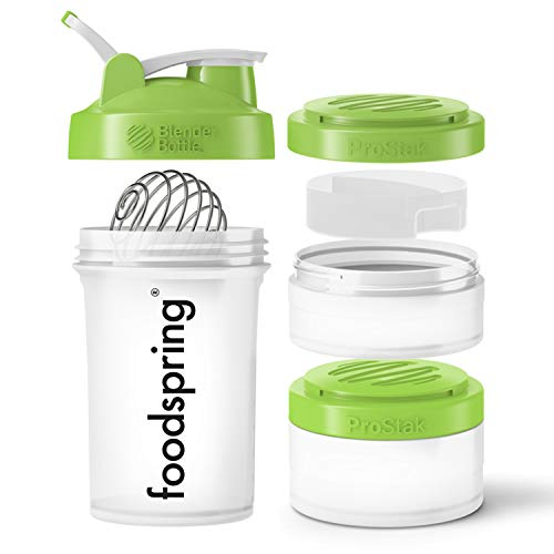 foodspring Premium Eiweiß Shaker, 650ml, Blender Bottle ProStack, BPA-frei, 2 Behälter & 1 Pillenfach für unterwegs, einfache Reinigung