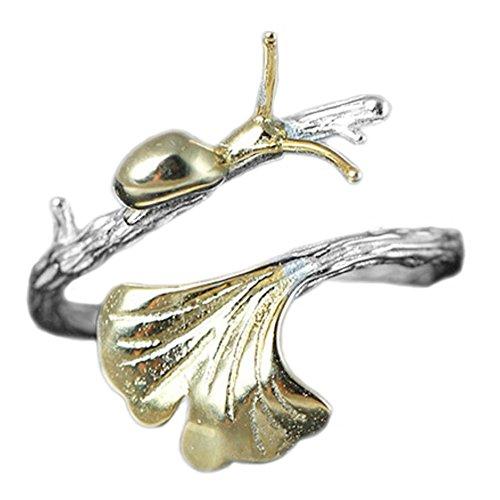 Helen de Lete Kleine Schnecke auf Ginkgo Blatt 925 Sterling Silber offenen Ring