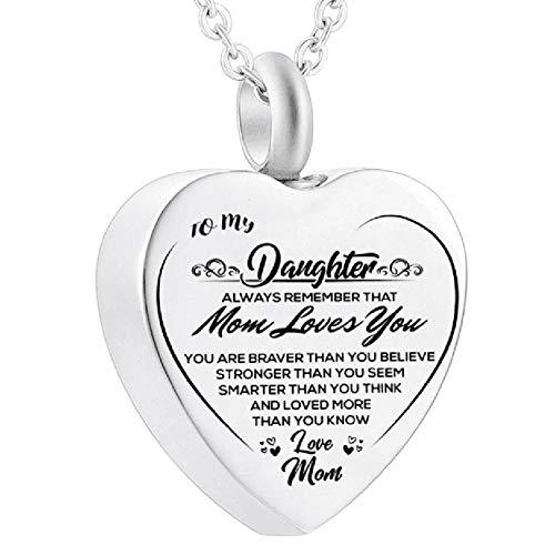 Canghai Collar de urna para cenizas, para mi hija, con forma de corazón, para cenizas, de acero inoxidable, con colgante de cremación