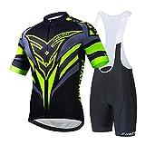 Ropa Ciclismo Verano para Hombre Ciclismo,Excelente Maillot Y Culotte,Equipacion Ciclismo Hombre,Greenb,S