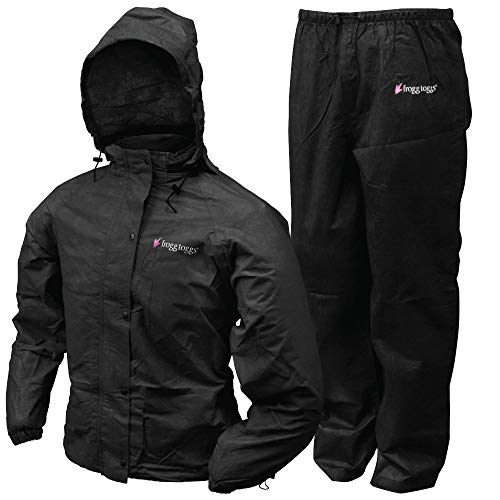 FROGG TOGGS Women's Classic All-Sport Waterproof Breathable Rain Suit, Black, Small