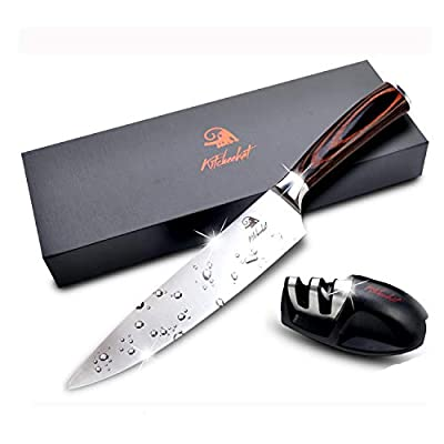 Chef Knife 8 Inch Sharpest Kitchen Knife Includes Chefs Knife Sharpener (Brown)