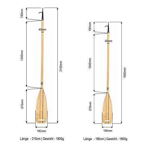 Bootshaken/Paddel 2in1 aus Holz für Segelboote, Segeljachten, Booten TOP Qualität, traditionelle Form und Material - EU Eco Produkt (210 cm)
