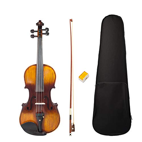 XTQDM Geige Neue 4/4 Full Size Violine Akustische Violine W/Case + Bow + Kolophonium Set Für Biginner Violine Anfänger Braun Farbe Violine/Geige, gelb