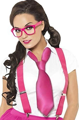 Dames Sexy Hot Roze School Meisje Instant Geek Nerd Dork Fancy Jurk Kostuum Accessoire Kit Outfit