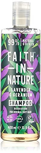 Faith in Nature Champú Natural de Lavanda y Geranio, Nutritivo, Vegano y No Testado en Animales, sin Parabenos ni SLS, para Cabello de Normal a Seco, 400 ml