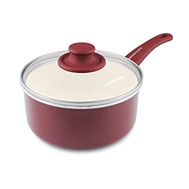 GreenLife Soft Grip Ceramic Non-Stick 3qt Covered Saucepan, Burgundy