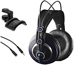 AKG K 240 MK II Professional Semi-Open Stereo Headphones with Headphone Holder & Male to Stereo Female Extension Cable Bundle