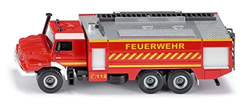 SIKU 2109 - Voiture de Pompiers Mercedes-Benz Zetros, 1:50, Métal/Plastique, Rouge, Echelle Amovible