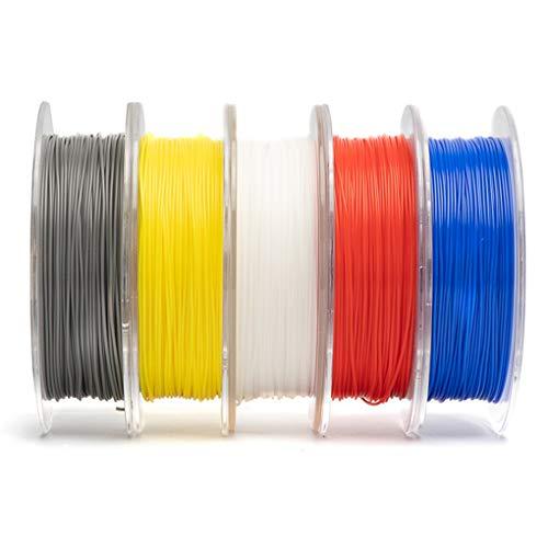 Hello 5pcs PLA Filament de PLA de l'imprimante Filament 3D Spool, la précision dimensionnelle de +/- 0,03 mm PLA Blanc Rouge Jaune Bleu Gris