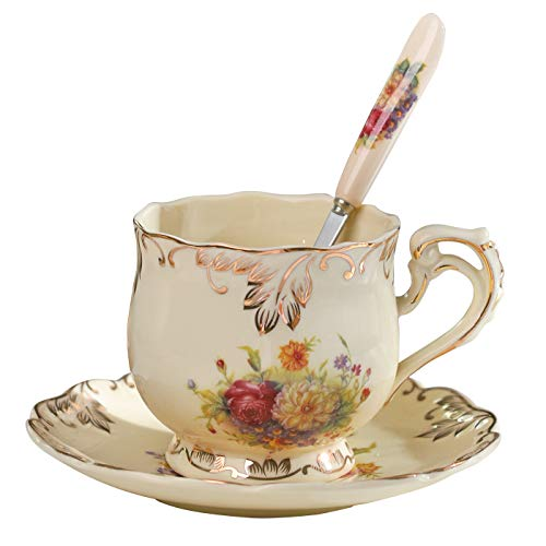 Floral British style Spoon, Ceramic Tea Cup with Saucer Set