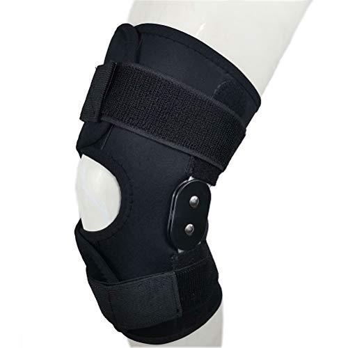 YsaAsaa Rodillera, soporte de rodilla de aluminio con doble bisagra, soporte de rodilla ajustable, soporte de rótula abierto transpirable para traumas deportivos, esguinces
