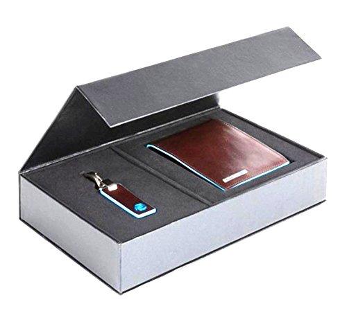 Piquadro Blue Square Cofanetto regalo con portafoglio uomo PU1241B2 e portachiavi PC3755B2 - PUBOX03B2 (Mogano)
