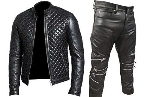 EU Fashions Chaqueta de piel auténtica acolchada para hombre, color negro
