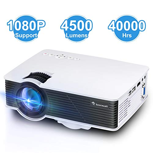 "Video Projector, Support 1080P 170"" Display Movie Projector, Portable HD Home Theater Projector with 40,000 Hrs LED Lamp Life, Compatible with Laptop, TV Stick, PS4, HDMI, VGA, AV, USB"