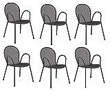 EMU 6 Stück - Stuhl mit Armlehnen Ronda Art. 116 Farbe antik grau - für den Außenbereich - Made in Italy