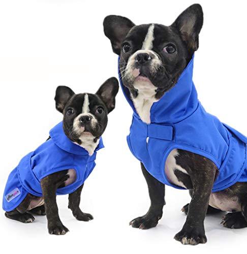 GBY Huisdierkleding voor honden en katten, windjas met twee lagen, warme huisdierkleding voor de winter en linnen met tractielussen, Medium, blauw