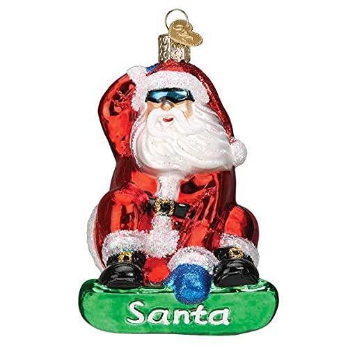 Old-World Christmas Glasornament, geblasen, mit S-Haken und Geschenkbox, Weihnachtsmann-Auswahl (Snowboard Santa, 40321)