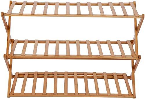 SHBV Zapatero de bambú Organizador de estantes de Almacenamiento de Zapatos de 3 Niveles 70 x 25 x 46 cm (Ancho x Fondo x Alto) Ideal para Pasillo baño Sala de Estar y Pasillo marrón Natura