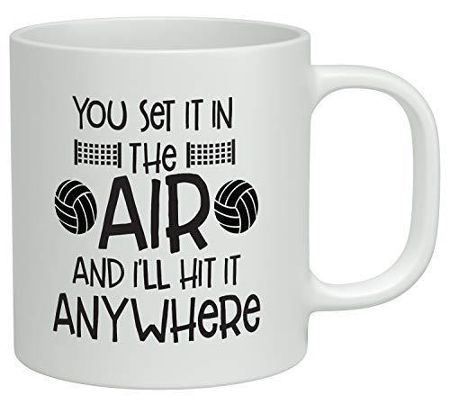 N\A Lo pones en el Aire y lo golpearé en Cualquier Lugar Taza de café de Voleibol Taza de té de cerámica