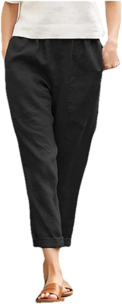 Casual Pants Women's Solid Color Nine-Point Pants Loose Women's Stretch Loose Pants Black