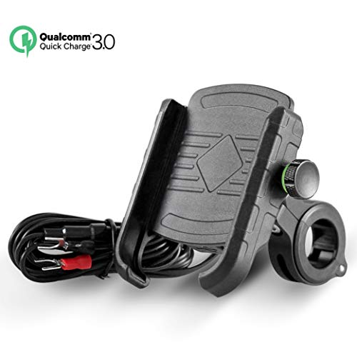 Rydonair Motorcycle Phone Mount with QC 3.0 USB Charger Socket Motorcycle Handlebar Mount Compatible...