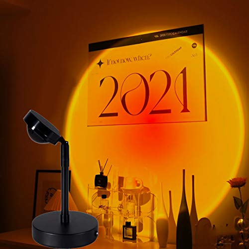 Sunset Projection Led Light,Rainbow Sunset Projection Floor Lighting, Projection Sunset Rainbow Led Multi-Angle Adjustable for Living Room Bedroom Romantic Projector Gift - USB Charging