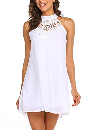 Sweetnight Womens Sleeveless Halter Neck Lace Mini Casual Dress (White, X-Large)