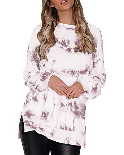 Auxo Mujer Sudaderas Manga Larga Otoño Suelta Casual Tie Dye Tallas Grandes Tops Bloque de Color Camisas Cuello Redondo 07 Tie Dye-Marrón S