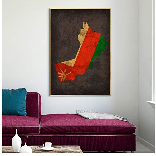 Country Flag Maps Poster Oman Country Flag Map Canvas Print Home Decor Wall Art Decor   -40x60cm geen Frame