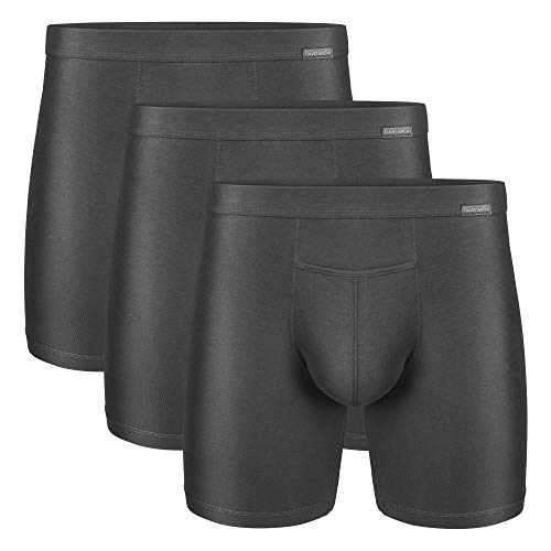 DAVID ARCHY Men's 3 Pack Premium Supima Cotton Underwear Ultra Soft Boxer Briefs with Fly (L, Dark Gray)