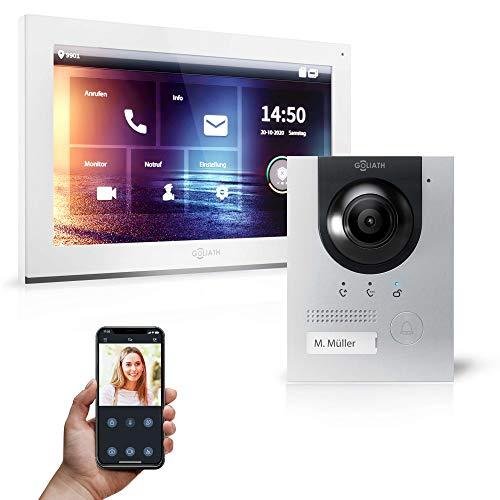 Goliath Hybrid | IP | Full HD Videoportero | App | 1 Fam | 1 x pantalla táctil completa de 25,4 cm (10 pulgadas) | placa de puerta empotrada de aluminio | ultra gran ángulo de 180° | AV-IPS-100