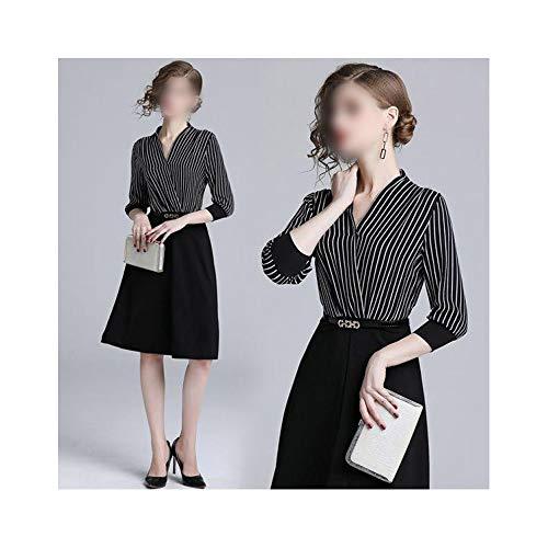 Rocke A-line Rock Streifen, um Taille langes Kleid mit V-Ausschnitt zu erhalten (Farbe : Schwarz, Size : XL)