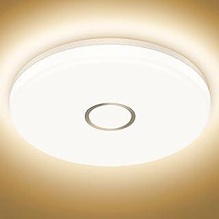 Onforu 18W Plafonnier LED Étanche, 24cm Plafonnier Salle de Bains 1600LM, Lampe Rond Moderne 2700K Blanc Chaud, Étanche Lu...