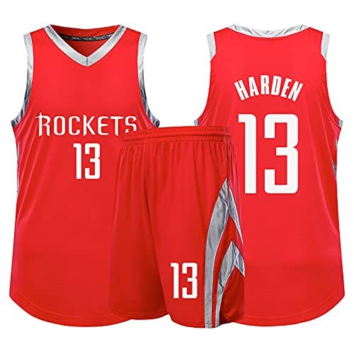 Camiseta de Baloncesto NBA Legend para Hombre - Houston Rockets # 13 James Harden Uniforme de Baloncesto Camisa Bordada Chaleco Shorts Set Swingman Jersey, Red-S (150~155cm)