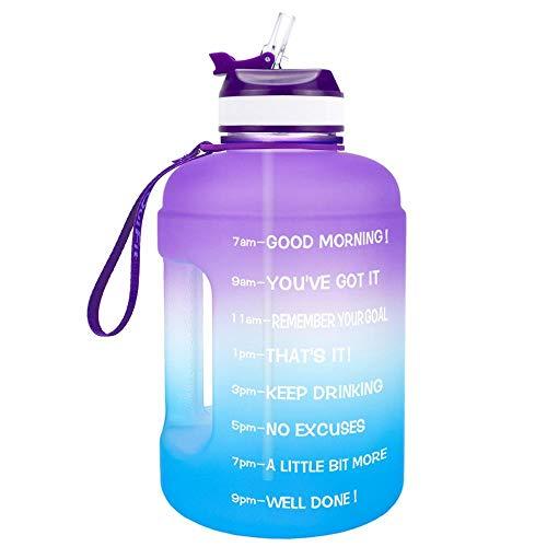 LERDBT Botella de agua deportiva de 2,2 litros, con tiempo y pajita, botella de agua deportiva de galón, sin BPA, a prueba de fugas, adecuada para fitness, gimnasio, hogar, oficina, al aire libre