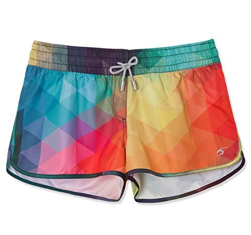 SURF CUZ Women's Prisma Board Short Quick Dry Fabric Women Swim Shorts for Beach Or Swim Multi Large