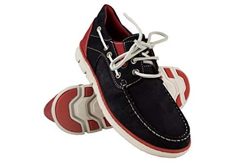 Zerimar Zapato para Caballeros naútico de Piel con Suela de Goma Flexible Piel Diseño marcando Moda Forro Interior en Piel (43, Azul Marino-Rojo)