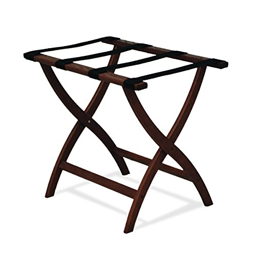 Review Of Wooden Mallet Designer Curve Leg Luggage Rack,Black Straps, Mahogany