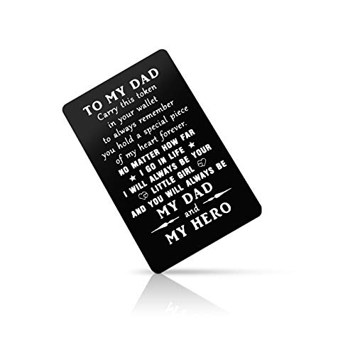 Father's Day Gift from Daughter Metal Wallet Insert Card Gift for Dad Papa Birthday Gift for Dad Men Engraved Wallet Insert Card Valentine's Day Wedding Gift for Father Deployment Gifts Fathers Day Gift