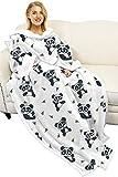 Manta súper suave con mangas, manta Sherpa resistente al desgaste para hombres y mujeres adultos, manta de lana de doble capa súper suave, cómoda y cálida