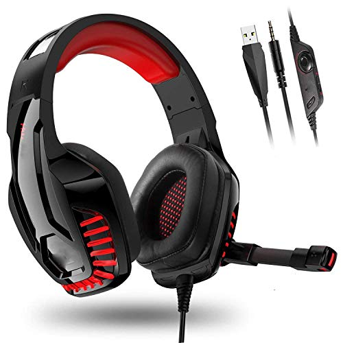 LXY 7.1 d Sound PC Gaming Headset, Adjustable Microphone, Noise Cancellation, Lightweight Body, Suitable for Notebook PS4 A (Color : C) (Color : Red)