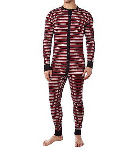 2(X)IST Men's Essential Cotton Long Underwear Union Suit,Varied Stripe/Scooter Red/black - 61326,Medium