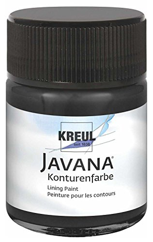 Kreul 815150 - Javana Seidenmalerei Konturenfarbe für Stoffe, 50 ml Glas, schwarz