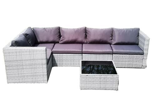 Grey Rattan Wicker Corner Sofa Set Settee furniture Garden patio Outdoor