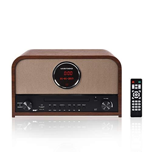 MUSITREND Retro DAB+ Radio digitale con FM, Bluetooth Impianto Stereo Vintage, Telecomando, Programmabile, Marrone