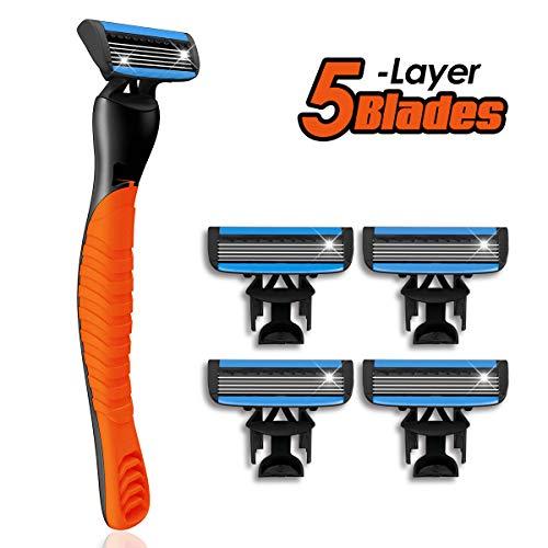 Herrenrasierer, Hizek Rasierer für Herren, Einwegrasierer mit 5-fach-Klinge + 4 Ersatzklingen, Rasierapparat für Männer Effizienteres Rasieren
