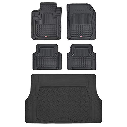 Motor Trend Rubber Floor Mats for Car SUV Truck - 5 Piece Set w/Cargo Trunk Liner - Odorless Trimmable