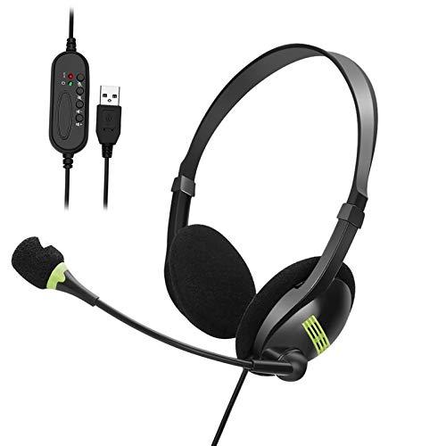 Afaneep Cuffie USB Cablate con Microfono per PC Computer Laptop Cuffie Stereo Riduzione del Rumore Cuffiette On Ear per Call Center Skype Chat Conference Call Telelavoro Corsi di Lingua